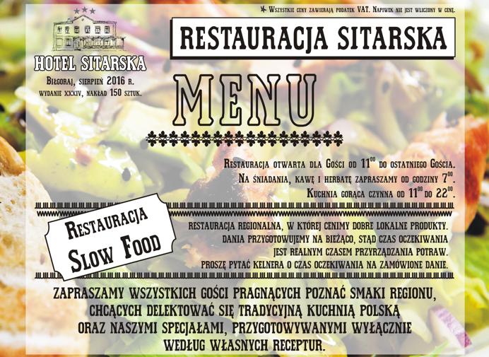 Hotel Restauracja Sitarska w Biłgoraju - menu